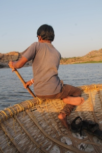 Our coracle boat rower