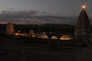 Virupaksha temple complex at sunset