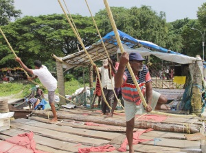 Fishermen hard at work
