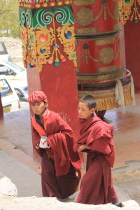 Prayer wheel outside Hemis